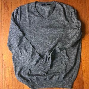 Speckled grey j.crew crewneck sweater